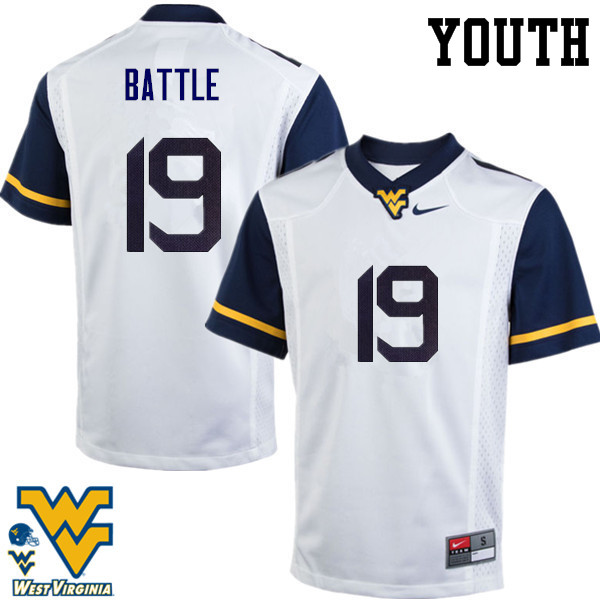 Youth #19 Elijah Battle West Virginia Mountaineers College Football Jerseys-White